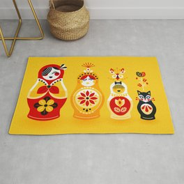 Russian Nesting Dolls – Yellow & Red Rug