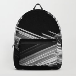 Future Boho - White on Black Minimalist Geometric Art Backpack
