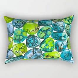 Turquoise pattern watercolor Rectangular Pillow