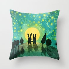 Bunny Constellation Gazing Throw Pillow
