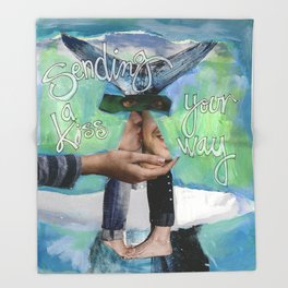 Sending A  Kiss Your Way Throw Blanket