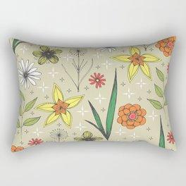 retro styled floral print Rectangular Pillow
