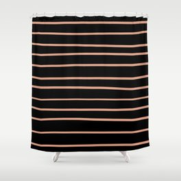 Pratt and Lambert Earthen Trail 4-26 Hand Drawn Horizontal Lines on Black Shower Curtain