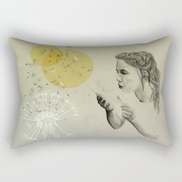 girl with dandelion Rectangular Pillow