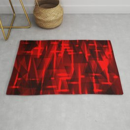 Bright red highlights on triangles and stripes of metal. Rug