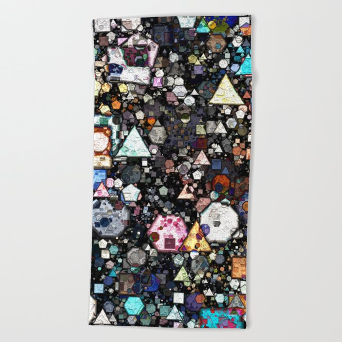Colorful Layers of Geometric Shapes Beach Towel