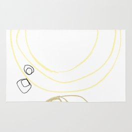 Yellow Abstract Shapes Minimalist Line Drawing Rug