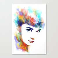 audrey hepburn Canvas Prints featuring Audrey Hepburn by Michael Akers