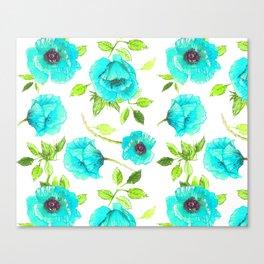Aqua poppy Canvas Print