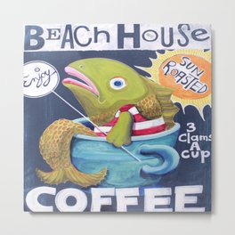 Beach House Coffee Metal Print