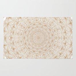 Brown Tan Intricate Detailed Hand Drawn Mandala Ethnic Pattern Design Rug