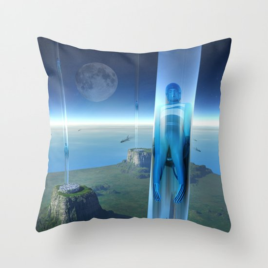 space elevator - babylon transfer station 02 Throw Pillow