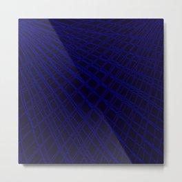 Rays of blue light with mirrored light waves on dark. Metal Print