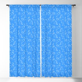 Blue Outline Birds - Decorative Illustration Seamless Pattern Blackout Curtain
