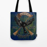 quidditch Tote Bags featuring Ravenclaw team captain quidditch by JanaProject