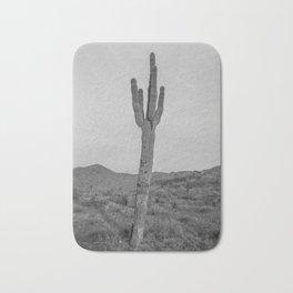 Saguaro B&W // Desert Landscape Photography Arizona Cactus Black and White Vintage Southwestern Vibe Bath Mat