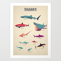 sharks Art Prints featuring Sharks by Simon Alenius
