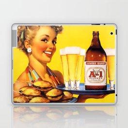 Pin Up Girl Waitress with Hamburgers and Beer Laptop & iPad Skin