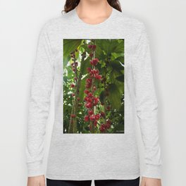 Red Flowers with Green leaf background Long Sleeve T-shirt