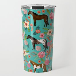 Horses floral horse breeds farm animal pets Travel Mug