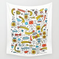 marc Wall Tapestries featuring chasing stars and putting them in jars by Marc Johns