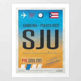 Vintage Puerto Rico Luggage Tag Poster Art Print