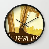 resident evil Wall Clocks featuring Resident Evil Afterlife by JackEmmett