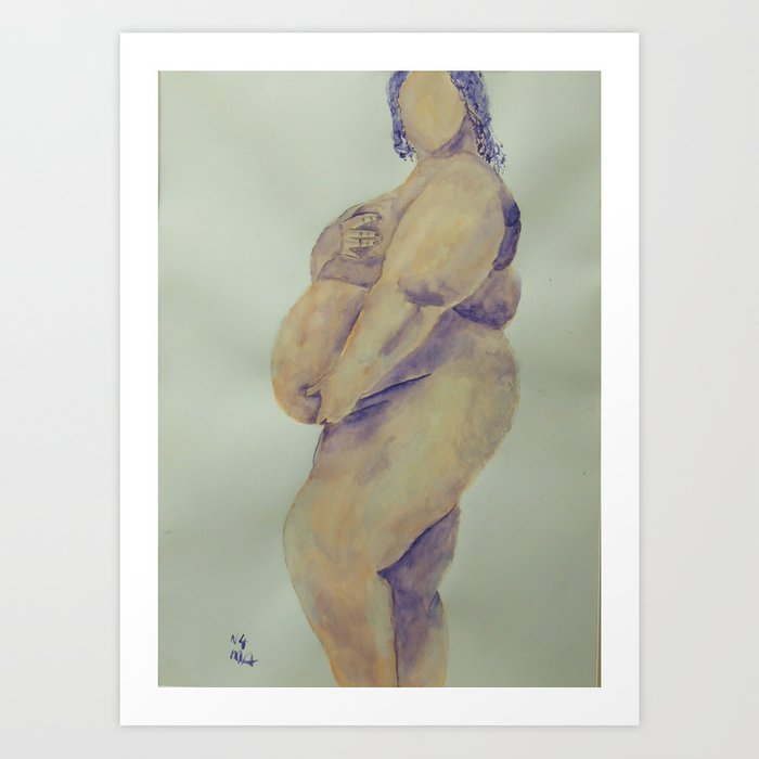 Pregnant Naked Beauty Art Print
