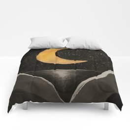 Gold Moon in the Mountains Comforters