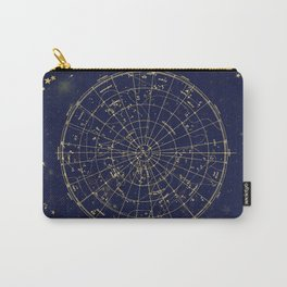 Metallic Gold Vintage Star Map 2 Carry-All Pouch