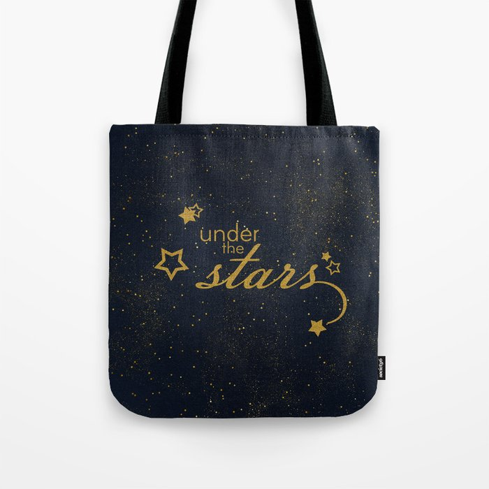 Under the stars- sparkling gold glitter night typography on #Society6 Tote Bag
