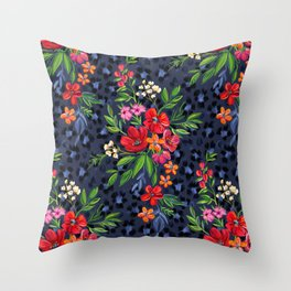 Super-saturated Leopard Print Floral Throw Pillow