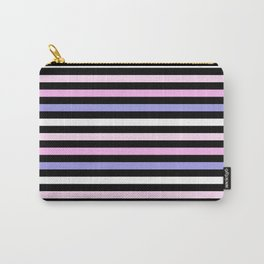 Pale Pink Periwinkle Fun Stripes Carry-All Pouch