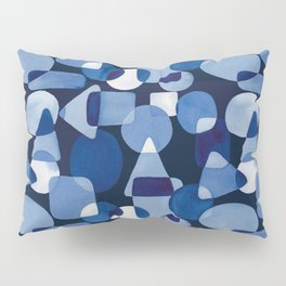 Blue Watercolour Geometric on Dark Blue Background Pillow Sham