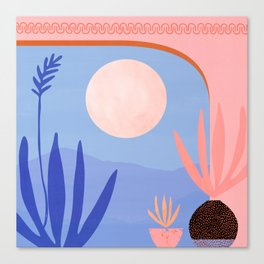 Midnight in the Desert / Blue and Pink Palette Canvas Print