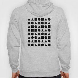 Geometric Shapes - Circles, Cubes & Triangles on Pink Background Hoody