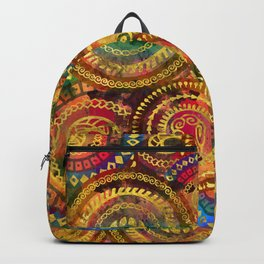 Colorful Circular Tribal  pattern with gold Backpack