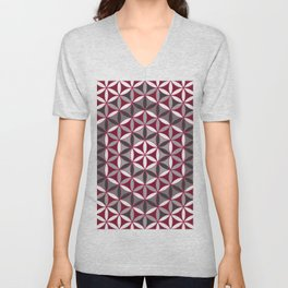 Flower of Life Red Grey Unisex V-Neck