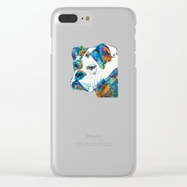 Colorful English Bulldog Art By Sharon Cummings Clear iPhone Case
