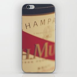 Champagne bottle, macro photography of old wine label on museum paper, still life, bar, home decor iPhone Skin
