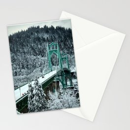 St Johns Bridge Winter Wonderland by Seasons Kaz Sparks Stationery Cards