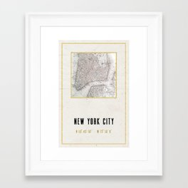 Vintage New York City Gold Foil Location Coordinates with map Framed Art Print