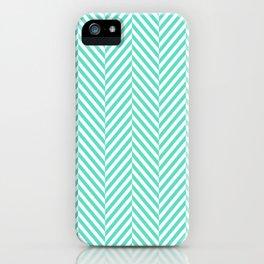 Classic Aqua Blue & White Herringbone Pattern iPhone Case