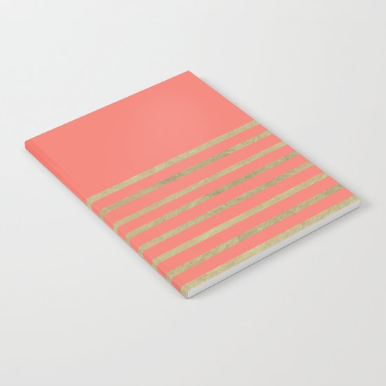 Peach and Gold Stripes Notebook