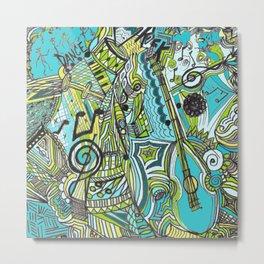 Musically Aqua Metal Print