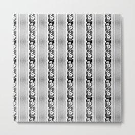 Black And White Hibiscus Honu Stripes Metal Print