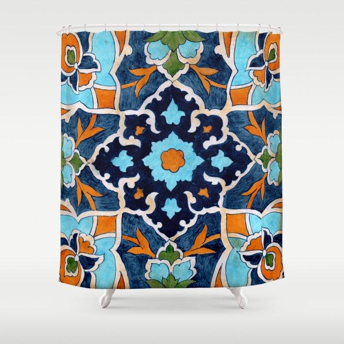 Mediterranean Tile Shower Curtain