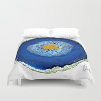 agate Duvet Covers featuring Agate Blue  by Xchange Art Studio