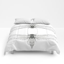Hand Drawn Dragonfly Print Comforters