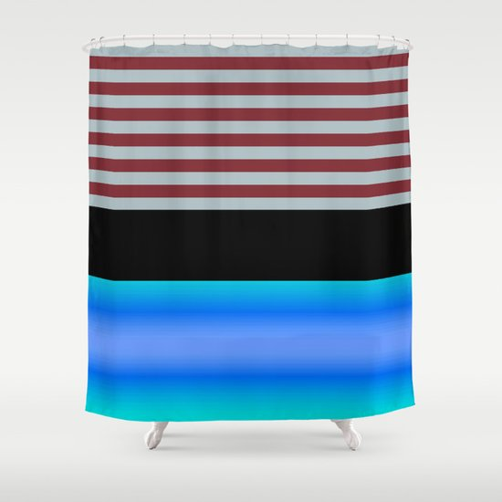 Blue Gray And Maroon Stripe Pattern Shower Curtain By